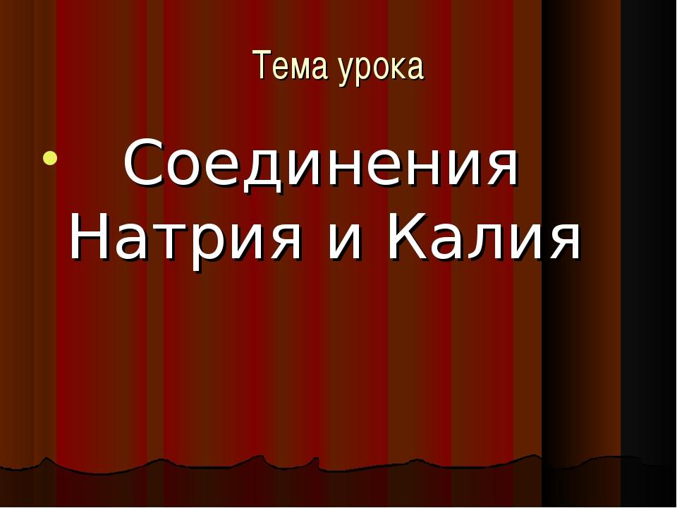 Тема урока Соединения Натрия и Калия