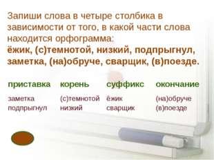 Запиши слова в четыре столбика в зависимости от того, в какой части слова нах