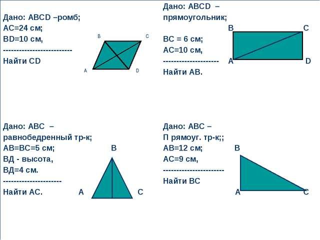 Дано: АВСD –ромб; АС=24 см; ВD=10 см, -------------------------- Найти СD Д...