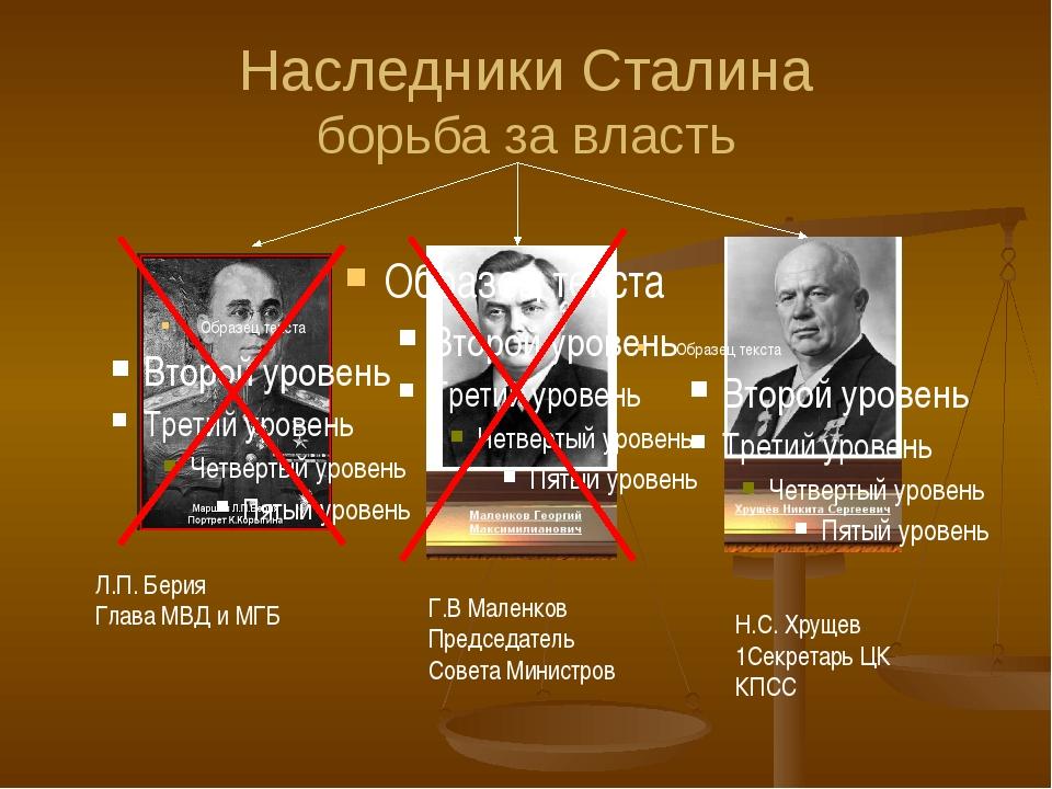 Наследники Сталина борьба за власть Л.П. Берия Глава МВД и МГБ Г.В Маленков П...