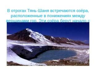 В отрогах Тянь-Шаня встречаются озёра, расположенные в понижениях между верш