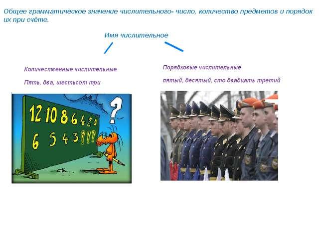 Общее грамматическое значение числительного- число, количество предметов и по...