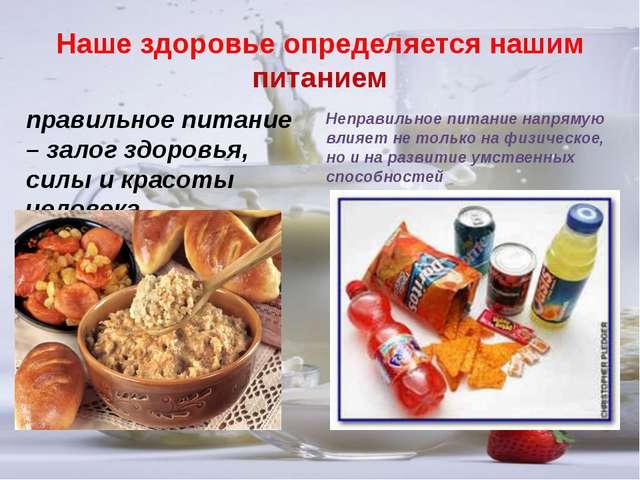 правильное питание – залог здоровья, силы и красоты человека Неправильное пит...