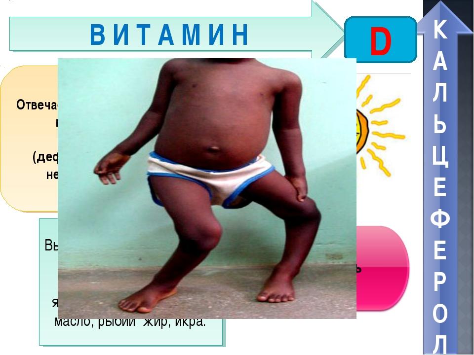 В И Т А М И Н D Отвечает за обмен фосфора, кальция, правильный рост костей. П...