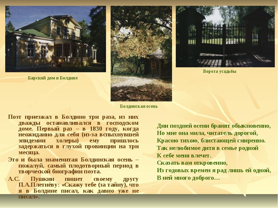 Поэт приезжал в Болдино три раза, из них дважды останавливался в господском д...