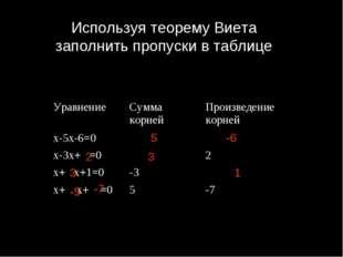 Используя теорему Виета заполнить пропуски в таблице 5 -6 2 3 3 1 -5 -7 Уравн