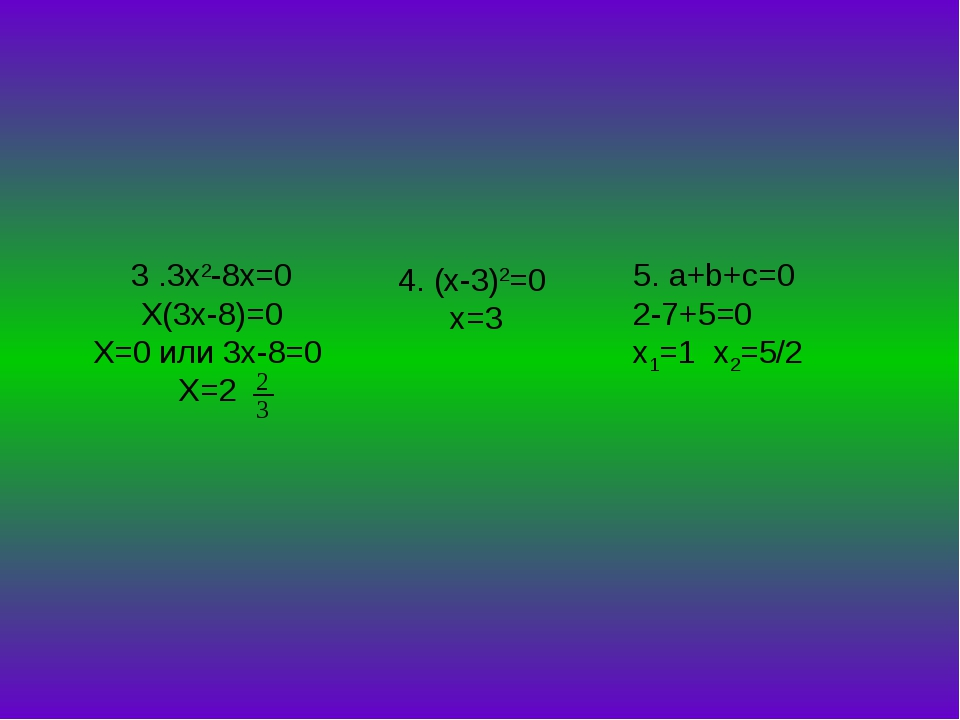 3 .3x2-8x=0 X(3x-8)=0 X=0 или 3x-8=0 X=2 4. (x-3)2=0 х=3 5. a+b+c=0 2-7+5=0 x...