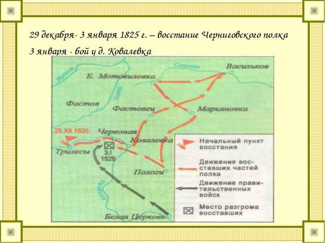 29 декабря- 3 января 1825 г. – восстание Черниговского полка 3 января - бой у...