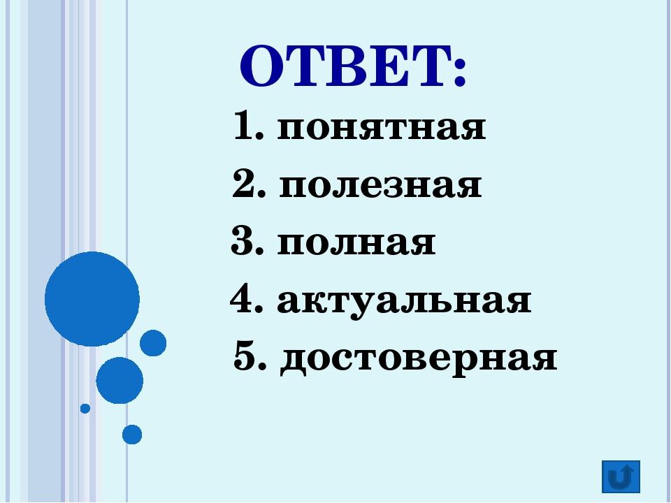 ОТВЕТ: 1. понятная 2. полезная 3. полная 4. актуальная 5. достоверная