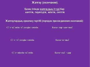 Жалғау (окончание). Қазақ тілінде жалғаудың 4 түрі бар: көптік, тәуелдік, жі