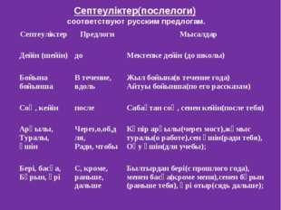 Септеуліктер(послелоги) соответствуют русским предлогам. СептеуліктерПредлог