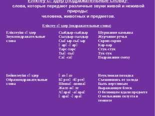 Еліктеу сөздер (подражательные слова)- слова, которые передают различные звук