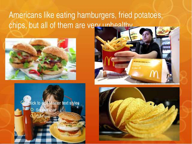 Americans like eating hamburgers, fried potatoes, chips, but all of them are...