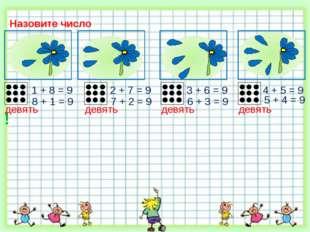 Назовите число 2 + 7 = 9 1 + 8 = 9 3 + 6 = 9 8 + 1 = 9 7 + 2 = 9 6 + 3 = 9 4