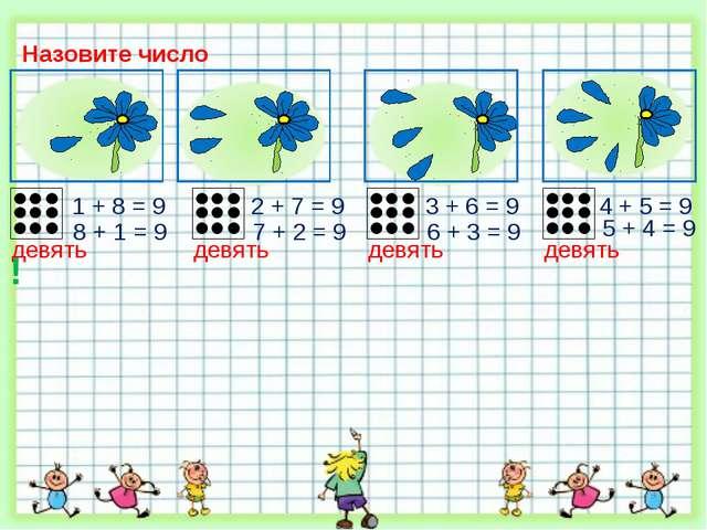 Назовите число 2 + 7 = 9 1 + 8 = 9 3 + 6 = 9 8 + 1 = 9 7 + 2 = 9 6 + 3 = 9 4...