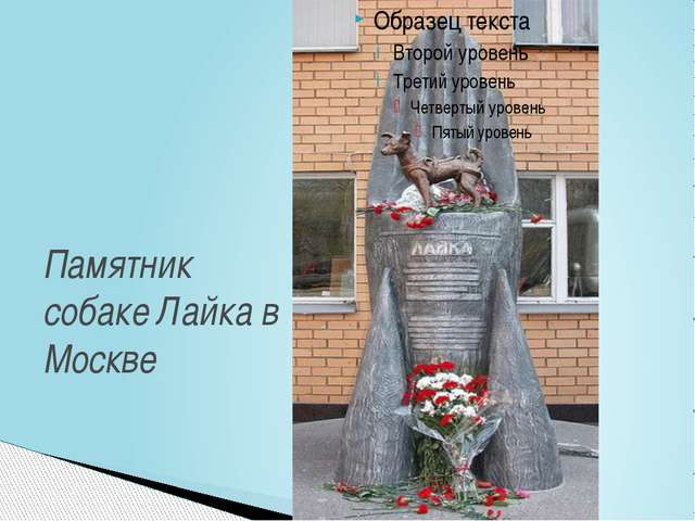 Памятник собаке Лайка в Москве