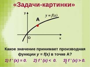 «Задачи-картинки» Какое значение принимает производная функции у = f(x) в точ