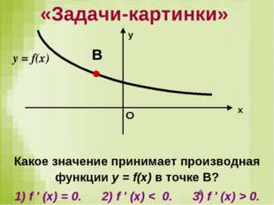 Какое значение принимает производная функции у = f(x) в точке В? 1) f ′ (x) =