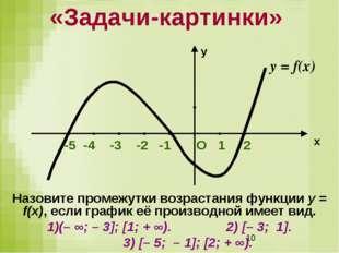 Назовите промежутки возрастания функции у = f(x), если график её производной