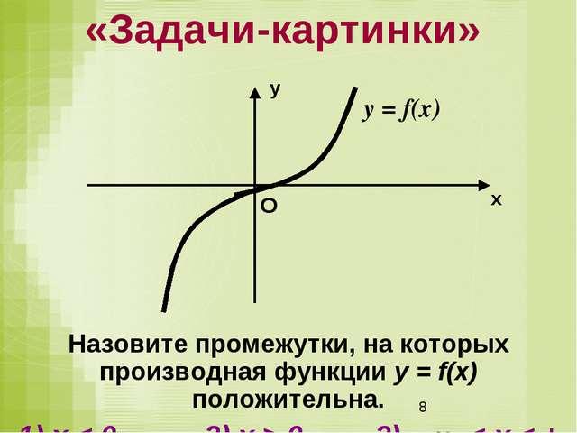 Назовите промежутки, на которых производная функции у = f(x) положительна. 1)...