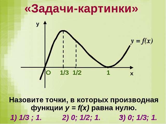 Назовите точки, в которых производная функции у = f(x) равна нулю. 1) 1/3 ; 1...