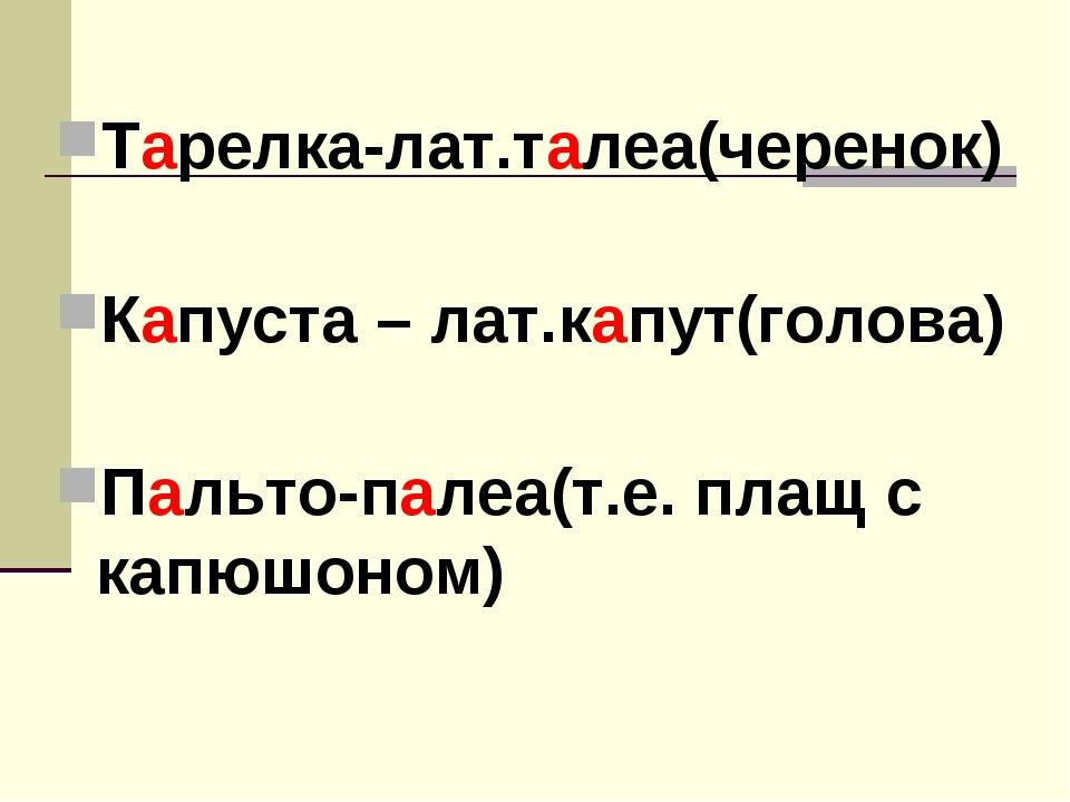 Тарелка-лат.талеа(черенок) Капуста – лат.капут(голова) Пальто-палеа(т.е. плащ...
