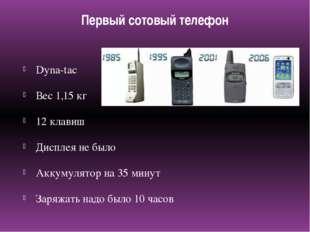 Первый сотовый телефон Dyna-tac Вес 1,15 кг 12 клавиш Дисплея не было Аккумул