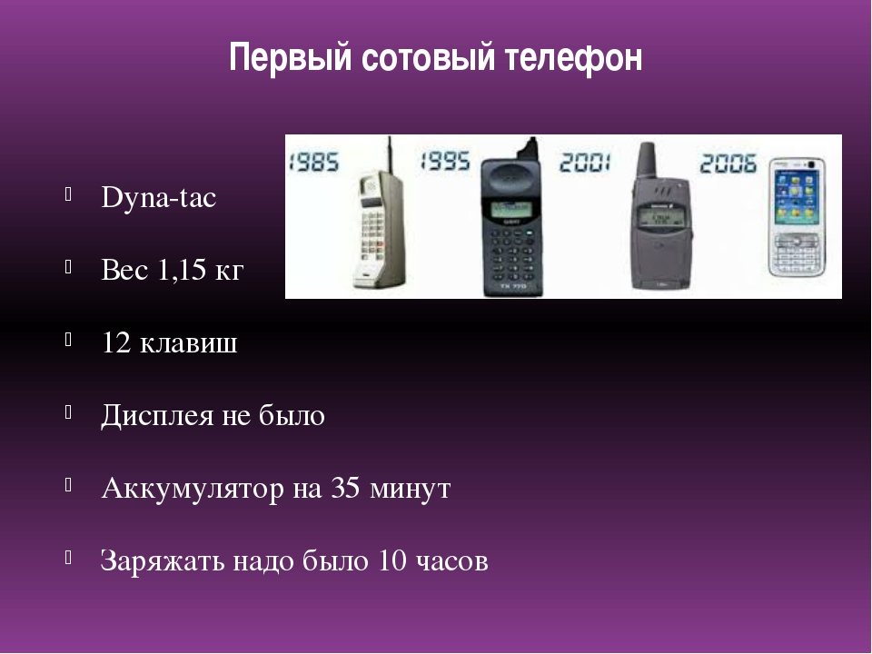 Первый сотовый телефон Dyna-tac Вес 1,15 кг 12 клавиш Дисплея не было Аккумул...