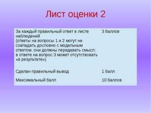 Лист оценки 2 За каждый правильный ответ в листе наблюдений (ответына вопросы