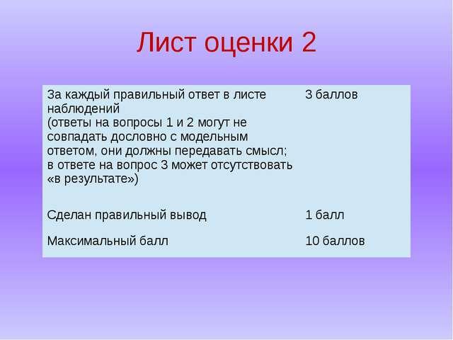 Лист оценки 2 За каждый правильный ответ в листе наблюдений (ответына вопросы...
