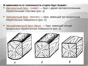 В зависимости от опиленности сторон брус бывает: Двухкантный брус (лафет) —