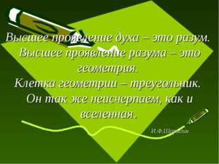 Высшее проявление духа – это разум. Высшее проявление разума – это геометрия.