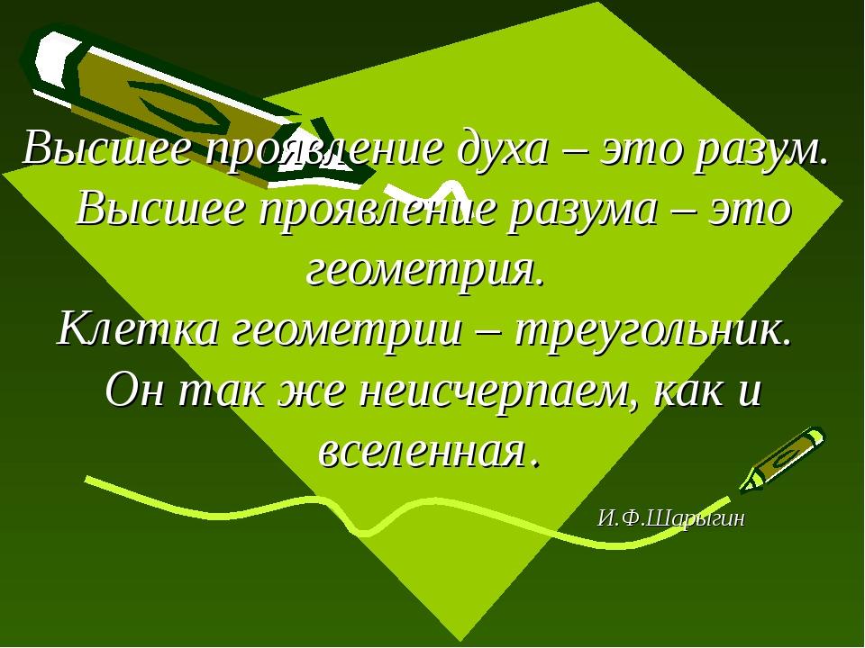 Высшее проявление духа – это разум. Высшее проявление разума – это геометрия....