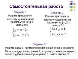 Самостоятельная работа Задание 2 Решить графически систему уравнений на проме