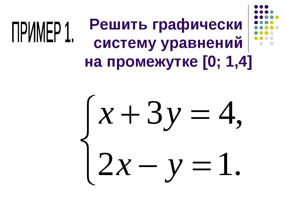 Решить графически систему уравнений на промежутке [0; 1,4]