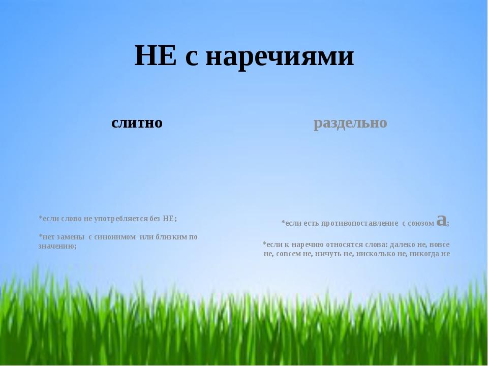 НЕ с наречиями слитно *если слово не употребляется без НЕ; *нет замены с сино...