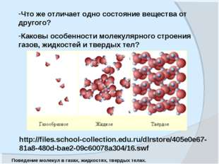 Что же отличает одно состояние вещества от другого? Каковы особенности молеку