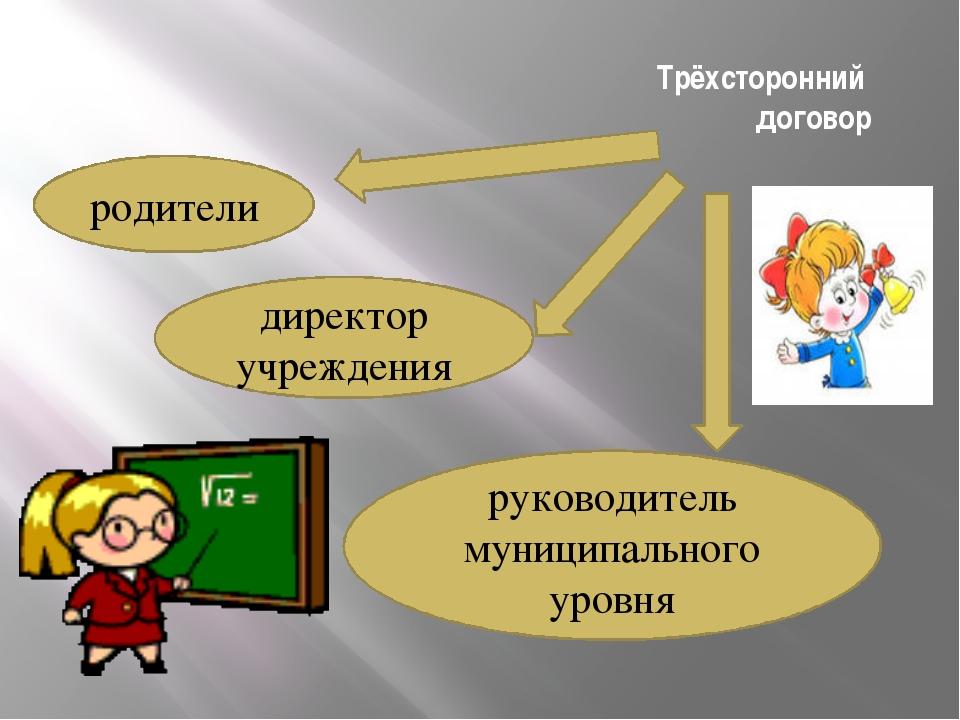 Трёхсторонний договор родители директор учреждения руководитель муниципальног...