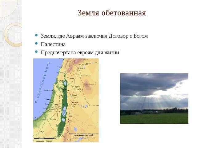 Земля обетованная Земля, где Авраам заключил Договор с Богом Палестина Предна...