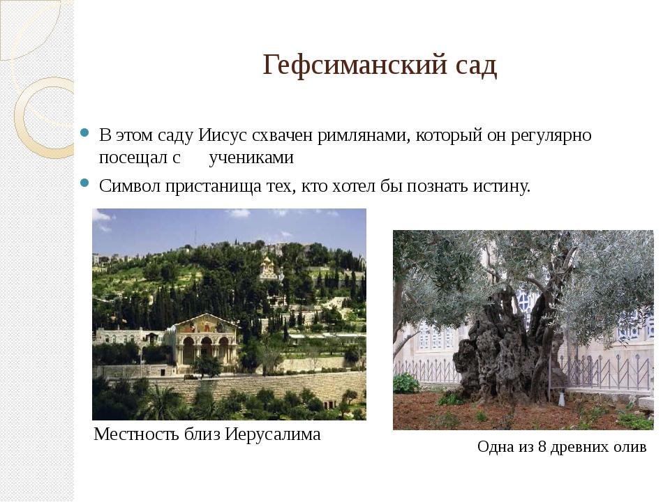 Гефсиманский сад В этом саду Иисус схвачен римлянами, который он регулярно по...