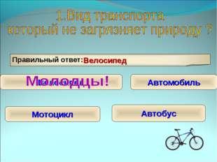 Правильный ответ: Велосипед Велосипед Автомобиль Мотоцикл Автобус