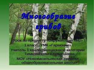 Многообразие грибов Урок по предмету «Окружающий мир» 1 класс УМК «Гармония»