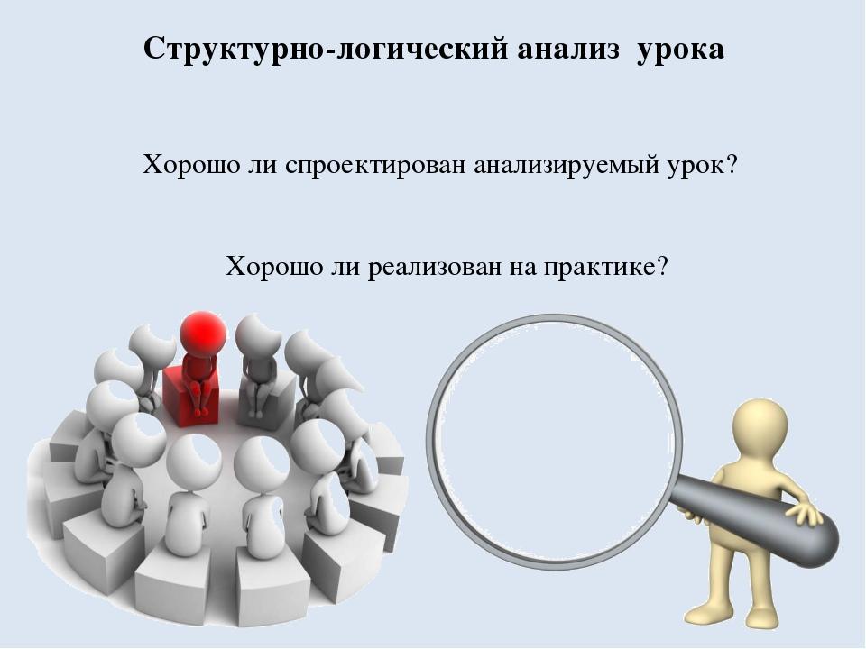 Структурно-логический анализ урока Хорошо ли спроектирован анализируемый уро...