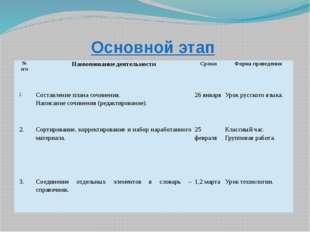 Основной этап № п/п Наименование деятельности Сроки Форма проведения 1. Соста