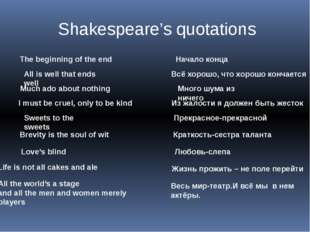 Shakespeare's quotations The beginning of the end Начало конца All is well th