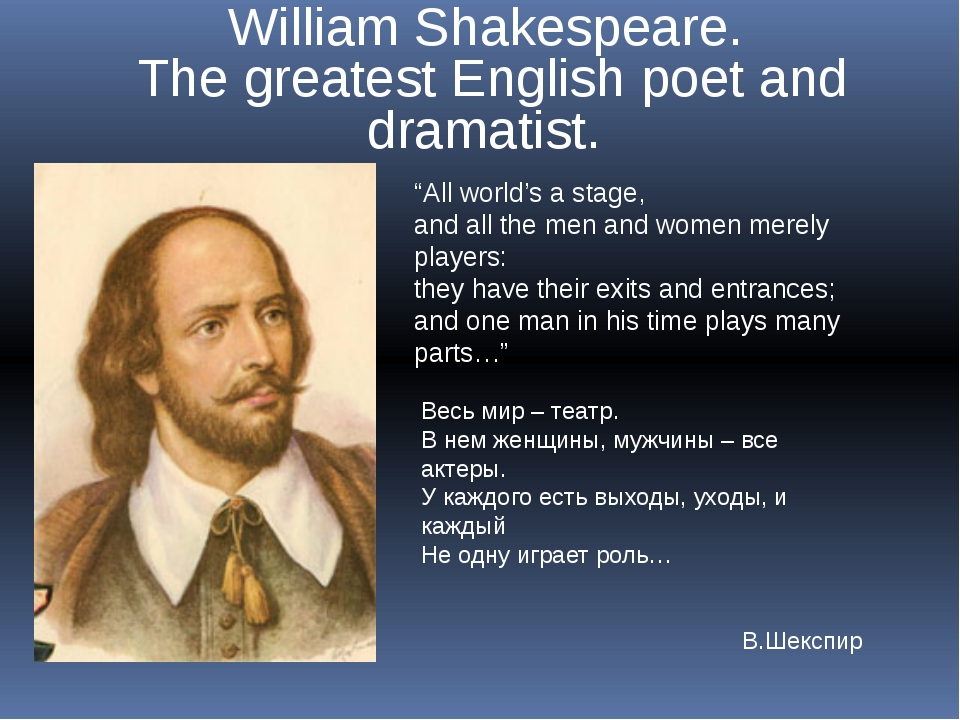 "William Shakespeare. The greatest English poet and dramatist. ""All world's a..."