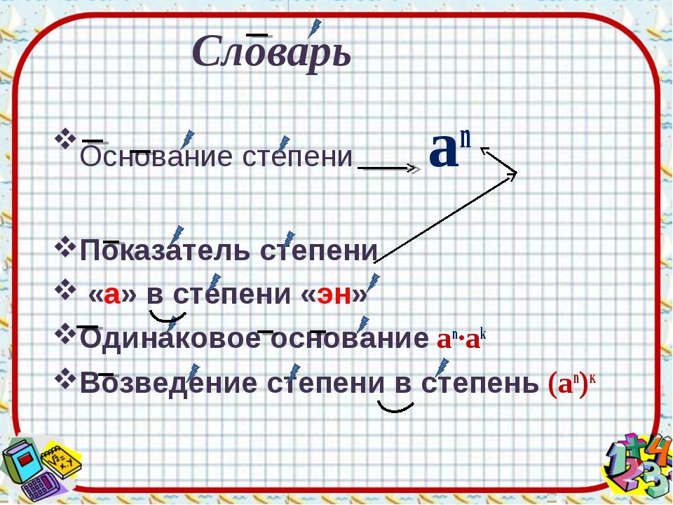 Основание степени an Показатель степени «а» в степени «эн» Одинаковое основа...