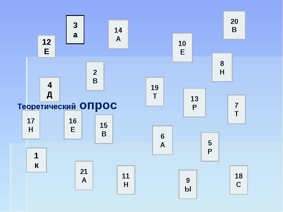 Теоретический опрос 12 Е 3 а 1 к 4 Д 20 В 6 А 17 Н 11 Н 2 В 21 А 16 Е 18 С 14...