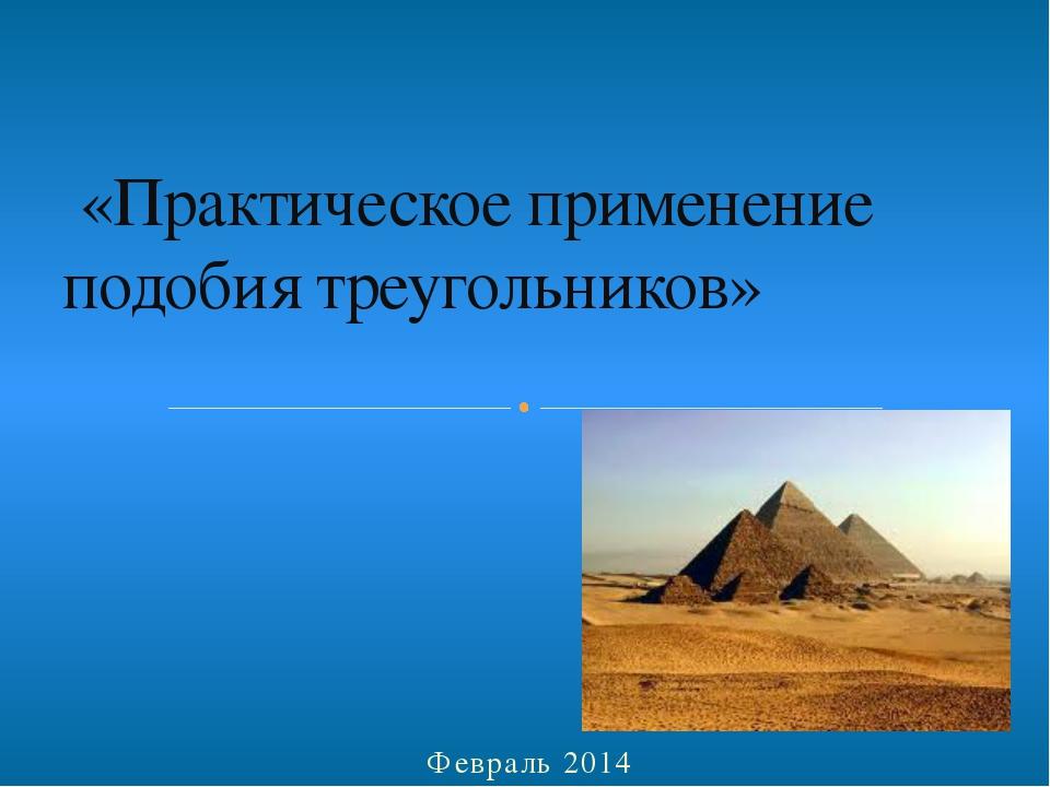 Февраль 2014 «Практическое применение подобия треугольников»