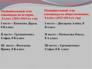 Муниципальный этап олимпиады по истории, 8 класс (2013-2014 уч. год) Муниципа
